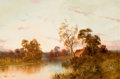 Fine Art - Painting, European:Antique  (Pre 1900), Walter Lewis (British, 19/20th Century). River landscape withcottage. Oil on canvas. 20 x 30 inches (50.8 x 76.2 cm). S...