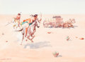 Works on Paper, Leonard Howard Reedy (American, 1899-1956). Tragedy of the Plains. Watercolor on paper. 10-1/4 x 7-1/4 inches (26.0 x 18...