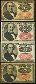 Fractional Currency:Fifth Issue, 25¢ Fifth Issue Fractionals. ... (Total: 4 notes)