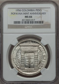 Colombia, Colombia: Republic Peso ND (1956) MS66 NGC,...