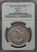 Colombia, Colombia: Republic Peso 1864 XF45 NGC,...