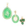 Estate Jewelry:Pendants and Lockets, Jadeite Jade, Emerald, Gold Pendants. ... (Total: 4 Items)