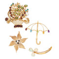 Estate Jewelry:Brooches - Pins, Diamond, Multi-Stone, Freshwater Cultured Pearl, Gold Brooches. ...(Total: 4 Items)
