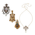 Estate Jewelry:Pendants and Lockets, Antique Diamond, Painted Portrait, Multi-Stone, Freshwater Pearl,Half-Pearl, Gold, Silver Vermeil Jewelry. ... (Total: 4 Items)