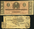 Confederate Notes, T44 $1 1862 PF-1 Cr. 339. T71 $1 1864 PF-4 Cr. 577. ... (Total: 2 notes)