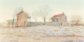 Fine Art - Painting, American:Contemporary   (1950 to present)  , Mondel Rogers (American, 20th Century). Twins of Alamosa.Egg tempera on panel. 24 x 46-3/4 inches (61.0 x 118.7 cm) (si...