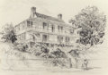 "Fine Art - Work on Paper:Drawing, Edward Muegge ""Buck"" Schiwetz (American, 1898-1984). Connolly'sInn, Natchez, Mississippi, 1951. Pencil on paper. 10-1/2..."