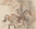 Fine Art - Work on Paper:Drawing, Edmund Blampied (British, 1886-1966). Horses. Watercolor onpaper. 7-3/4 x 9-3/4 inches (19.7 x 24.8 cm) (sight). Signed...