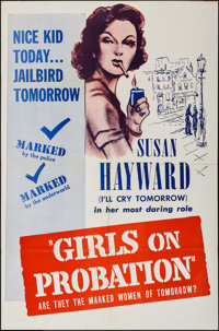 """Girls on Probation (Dominant, R-1956). One Sheet (27"""" X 41"""") & Lobby Card Set of 4 (11"""" X 14"""")..."""