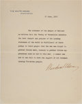 Autographs:U.S. Presidents, Woodrow Wilson Typed Statement Signed Concerning the League of Nations....