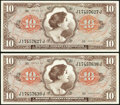 Military Payment Certificates:Series 641, Series 641 $10 Two Examples XF;. Series 681 5¢ (2); 10¢ (2) VF-XFor Better.. ... (Total: 6 notes)