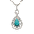 Estate Jewelry:Pendants and Lockets, Turquoise, Diamond, White Gold Pendant-Necklace. ...