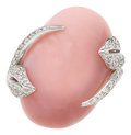 Estate Jewelry:Rings, Pink Opal, Diamond, White Gold Ring, Luca Carati. ...
