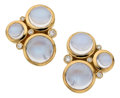 Estate Jewelry:Earrings, Moonstone, Diamond, Gold Earrings, Temple St. Clair. ... (Total: 2Items)