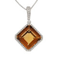 Estate Jewelry:Necklaces, Topaz, Diamond, White Gold Pendant-Necklace. ...