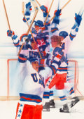 Mainstream Illustration, Robert Peak (American, 1927-1992). Hockey. Watercolor andpastel on paper. 33.5 x 23.25 in. (sight). Signed lower right...