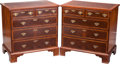 Furniture : English, A Pair of George III-Style Mahogany and Satinwood Chest of Drawers, late 19th-early 20th century. 32-1/2 h x 31-1/2 w x 20-1... (Total: 2 Items)