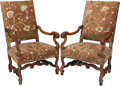 Furniture , A Pair of Louis XIII-Style Upholstered Walnut Armchairs, 19th century. 45-1/4 h x 27 w x 22 d inches (114.9 x 68.6 x 55.9 cm... (Total: 2 Items)