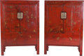 Asian:Chinese, A Pair of Chinese Red Lacquered Hardwood Cabinets. 72-1/2 h x 51 wx 20-1/4 d inches (184.2 x 129.5 x 51.4 cm). ... (Total: 2 Items)