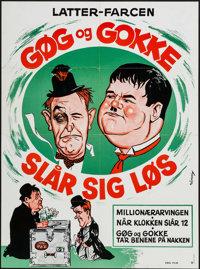 """Laurel and Hardy (Obel Film, R-1950s). Danish Poster (24.25"""" X 34""""). Comedy"""