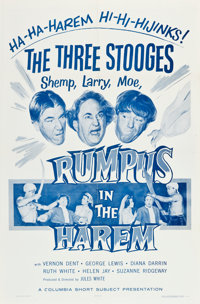 """The Three Stooges in Rumpus in the Harem (Columbia, 1956). One Sheet (27"""" X 41""""). Comedy"""