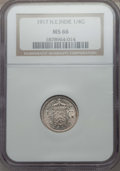 Netherlands East Indies, Netherlands East Indies: Wilhelmina 1/4 Gulden 1917 MS66 NGC,...
