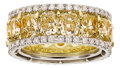 Estate Jewelry:Rings, Yellow Diamond, Diamond, Platinum, Gold Eternity Band. ...