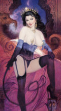 Pin-up and Glamour Art, Richard Williams (American, 20th Century). Woman in Purple andBlack, 2016. Oil on canvas. 50 x 28 in.. Signed and dated...