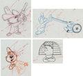 Animation Art:Production Drawing, The Alvin Show Alvin, Theodore and Simon Color Model DrawingGroup of 5 (Format Films/UPA, 1961). . ... (Total: 8 Original Art)