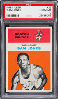 Basketball Cards:Singles (Pre-1970), 1961 Fleer Sam Jones #23 PSA Gem Mint 10 - Pop Two! ...