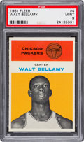 Basketball Cards:Singles (Pre-1970), 1961 Fleer Walt Bellamy #4 PSA Mint 9 - None Higher! ...