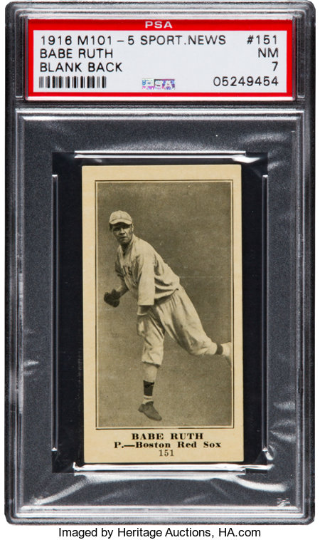 1916 M101-5 Blank Back Sporting News Babe Ruth Rookie #151 PSA NM 7....