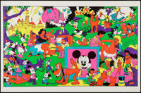 """Disneyland Memorial Orgy by Wally Wood (Late 1960s). Head Shop Black Light Poster (23"""" X 35""""). Adult"""
