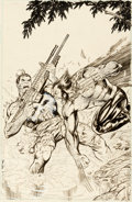 Original Comic Art:Covers, Jim Lee and Carl Potts Punisher War Journal #7 CoverWolverine Original Art (Marvel, 1989)....