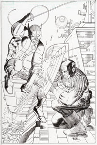 John Romita Jr. and Klaus Janson Avengers vs. X-Men #1 Variant Cover Captain America and Wolverine Original Art (M