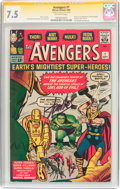 Silver Age (1956-1969):Superhero, The Avengers #1 Signature Series (Marvel, 1963) CGC VF- 7.5Off-white pages....