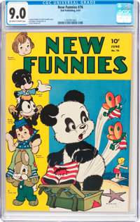 New Funnies #76 (Dell, 1943) CGC VF/NM 9.0 Off-white to white pages