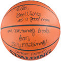 Basketball Collectibles:Balls, Billy McKinney Signed Leather NBA Basketball....