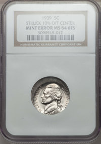 1939 5C MS64 Full Steps NGC. Struck 10% Off Center. NGC Census: (0/0). PCGS Population (0/0)