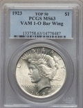 Peace Dollars, 1923 $1 Bar Wing, VAM-1'O', MS63 PCGS. A Top 50 Variety. PCGS Population: (28/36). MS63....