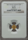 California Fractional Gold : , 1881 25C Indian Round 25 Cents, BG-887, R.3, MS63 NGC. NGC Census:(9/17). PCGS Population (36/105). ...