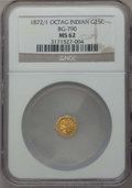 California Fractional Gold , 1872/1 25C Indian Octagonal 25 Cents, BG-790, R.3, MS62 NGC. NGCCensus: (5/12). PCGS Population (14/131). ...