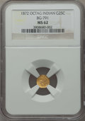 California Fractional Gold , 1872 25C Indian Octagonal 25 Cents, BG-791, R.3, MS62 NGC. NGCCensus: (11/56). PCGS Population (42/196). ...