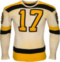 Hockey Collectibles:Uniforms, Early 1940's Bobby Bauer Game Worn Boston Bruins Jersey....