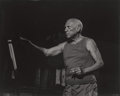 Photographs:Gelatin Silver, André Villers (French, b. 1930). Pablo Picasso during thefilming of Le Mystère Picasso, 1955. Gelatin silver, printedl...
