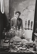 Photographs:Gelatin Silver, Sabine Weiss (Swiss, b. 1924). Alberto Giacometti in his studio, 1954. Gelatin silver, printed later. 15-5/8 x 11 inches...