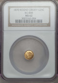 California Fractional Gold : , 1870 25C Liberty Round 25 Cents, BG-808, R.3, MS62 NGC. NGC Census:(7/51). PCGS Population (24/174). ...