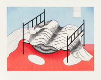 Louise Bourgeois (1911-2010) Le Lit Gros Edredon (with lips), 1997 Aquatint in colors on Arches pape