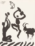 Prints:European Modern, After Pablo Picasso (1881-1973). Musicien, danseur, chèvre etoiseau, 1959. Lithograph on wove paper. 25-5/8 x 19-1/2 in...