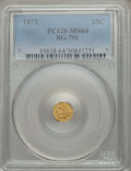 California Fractional Gold , 1872 25C Indian Octagonal 25 Cents, BG-791, R.3, MS64 PCGS. PCGSPopulation (95/22). NGC Census: (23/19). ...